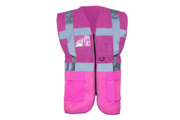 Yoko Hi-Vis Premium Executive/Manager Waistcoat / Jacket (Pink) (M)