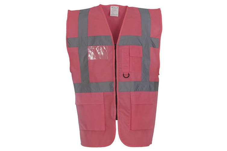 Yoko Hi-Vis Premium Executive/Manager Waistcoat / Jacket (Pink) (L)