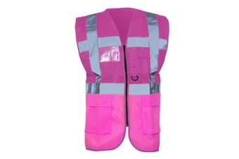 Yoko Hi-Vis Premium Executive/Manager Waistcoat / Jacket (Pink) (2XL)