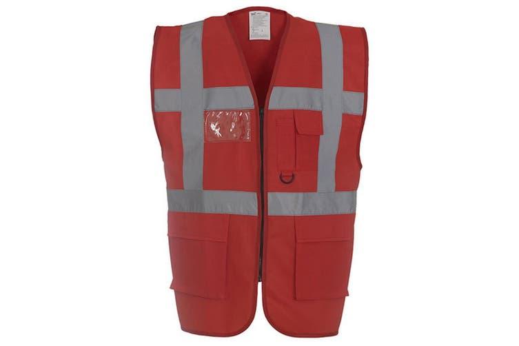 Yoko Hi-Vis Premium Executive/Manager Waistcoat / Jacket (Red) (M)