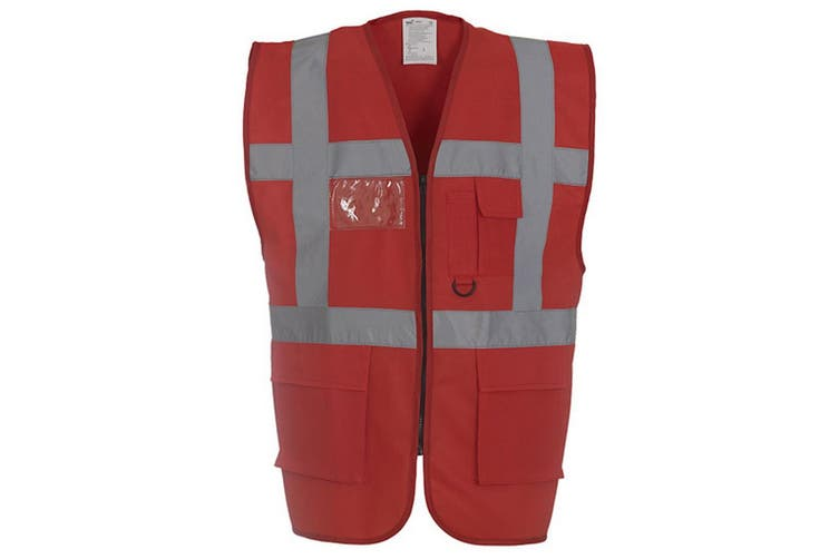 Yoko Hi-Vis Premium Executive/Manager Waistcoat / Jacket (Red) (L)