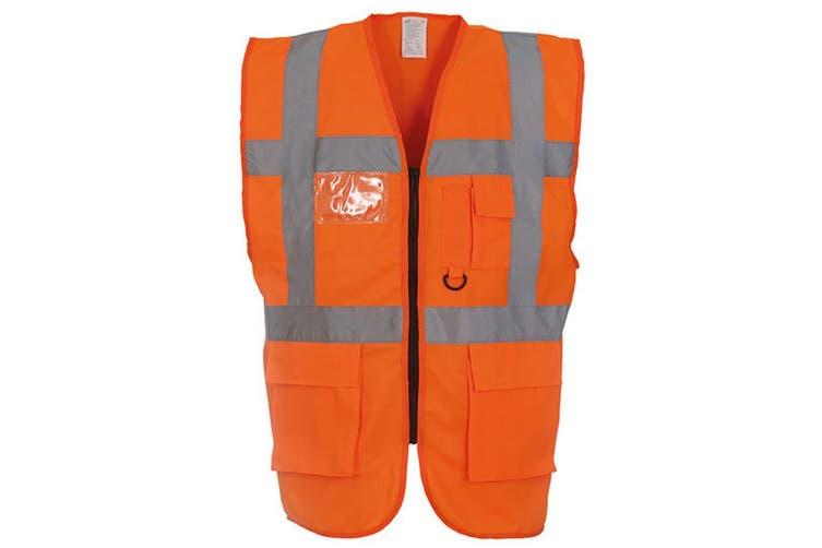 Yoko Hi-Vis Premium Executive/Manager Waistcoat / Jacket (Hi Vis Orange) (M)