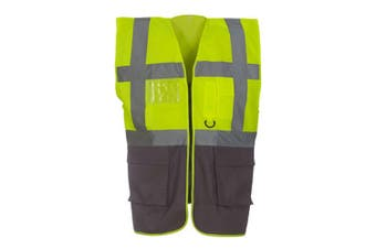 Yoko Hi-Vis Premium Executive/Manager Waistcoat / Jacket (Hi Vis Yellow/Grey) (S)