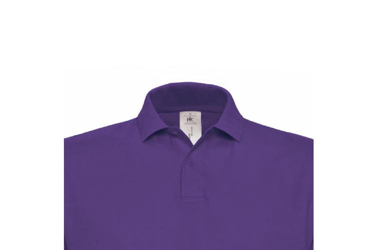 B&C ID.001 Unisex Adults Short Sleeve Polo Shirt (Purple) (XL)