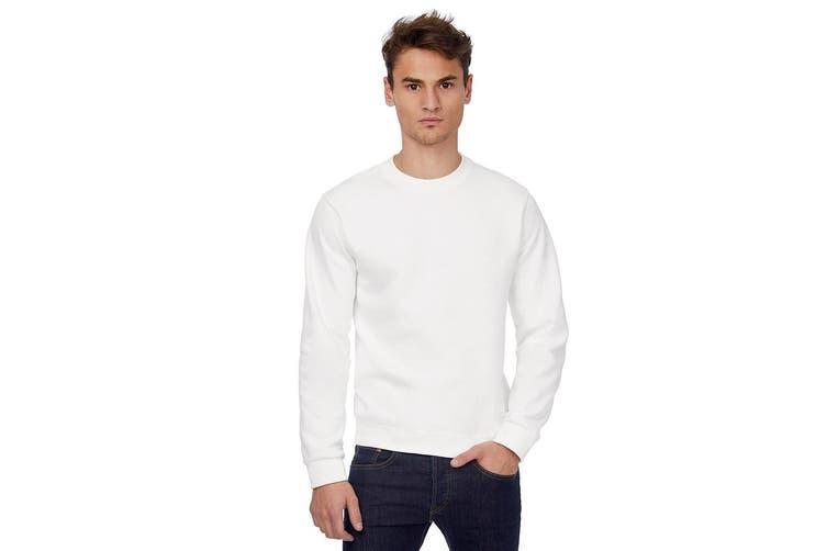 B&C Mens Crew Neck Sweatshirt Top (White) (XL)