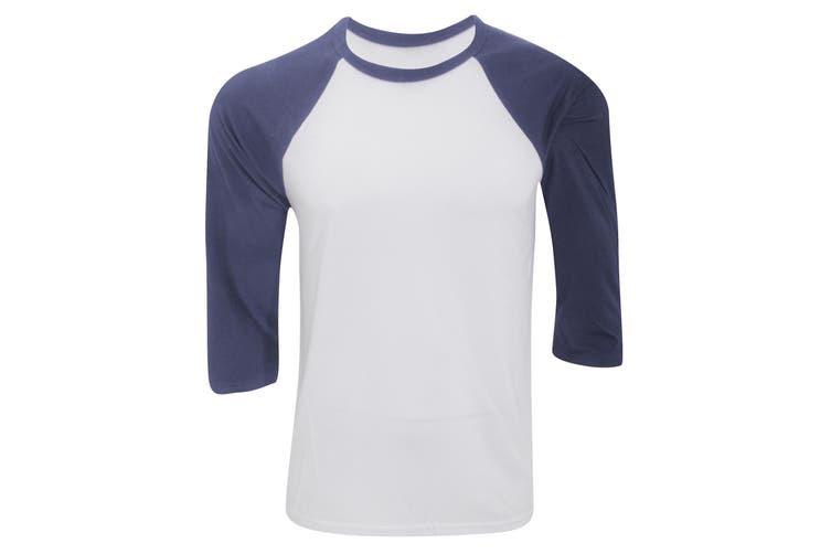 Canvas Mens 3/4 Sleeve Baseball T-Shirt (White/Denim) (L)