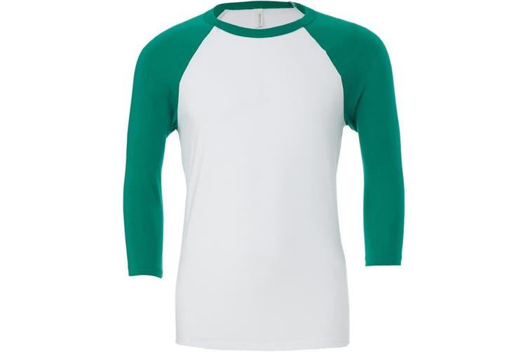 Canvas Mens 3/4 Sleeve Baseball T-Shirt (White/Kelly Green) (XS)