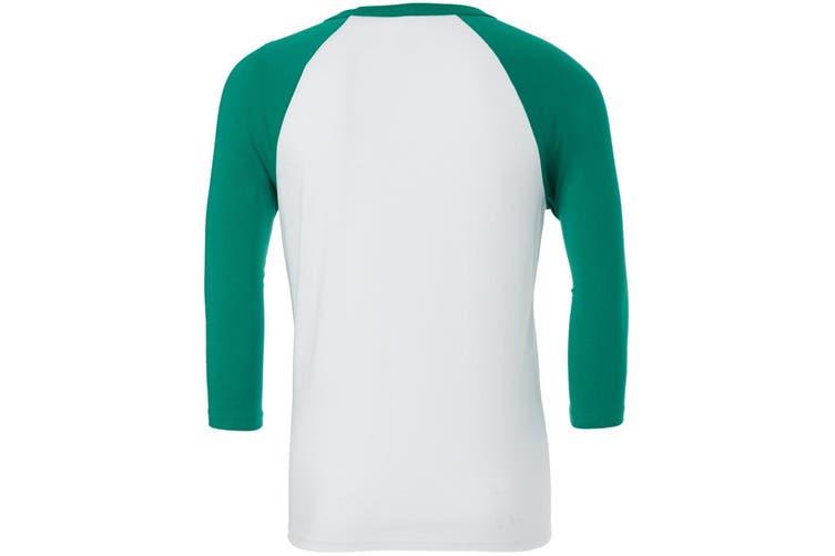Canvas Mens 3/4 Sleeve Baseball T-Shirt (White/Kelly Green) (M)