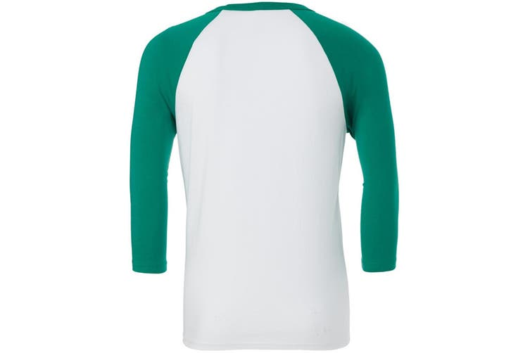 Canvas Mens 3/4 Sleeve Baseball T-Shirt (White/Kelly Green) (XL)