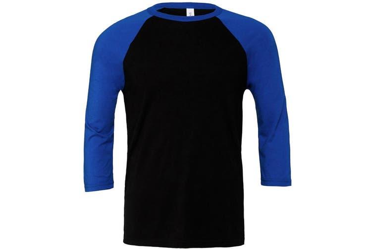 Canvas Mens 3/4 Sleeve Baseball T-Shirt (Black/True Royal) (S)