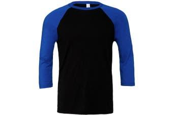 Canvas Mens 3/4 Sleeve Baseball T-Shirt (Black/True Royal) (L)