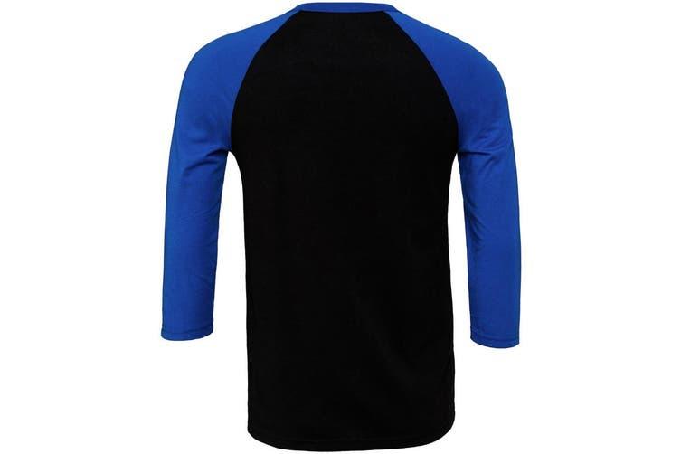 Canvas Mens 3/4 Sleeve Baseball T-Shirt (Black/True Royal) (2XL)