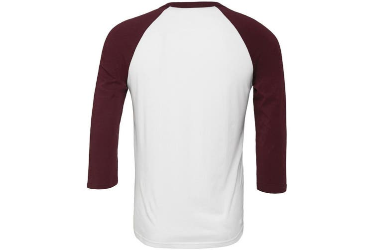 Canvas Mens 3/4 Sleeve Baseball T-Shirt (White/Maroon) (L)