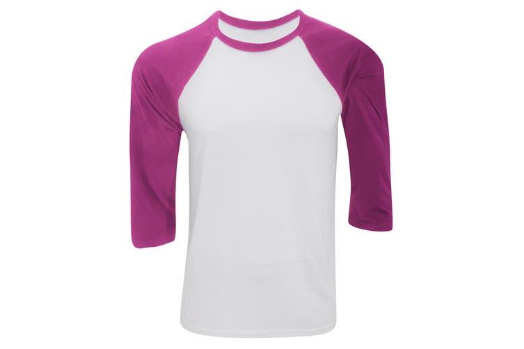 Canvas Mens 3/4 Sleeve Baseball T-Shirt (White/Maroon) (XL)