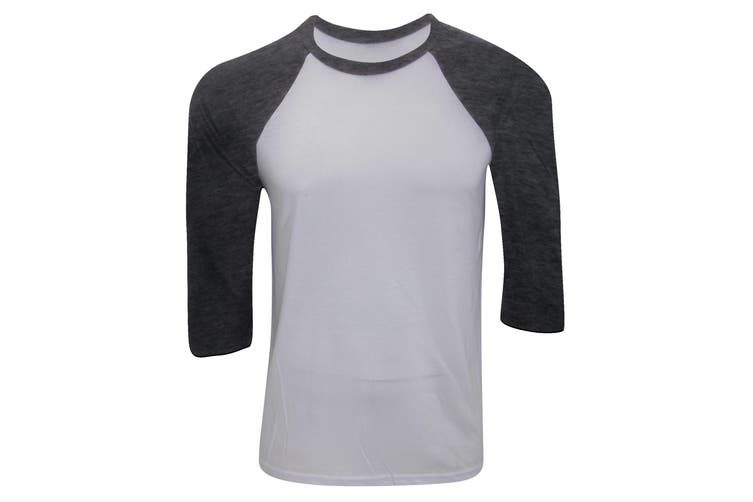 Canvas Mens 3/4 Sleeve Baseball T-Shirt (White/Charcoal Triblend) (XL)