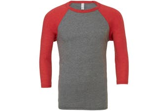 Canvas Mens 3/4 Sleeve Baseball T-Shirt (Grey/Light Red Triblend) (L)