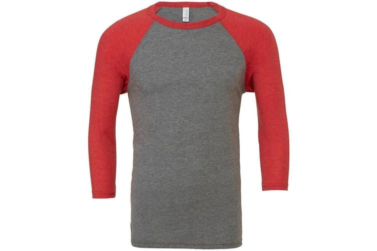 Canvas Mens 3/4 Sleeve Baseball T-Shirt (Grey/Light Red Triblend) (XL)