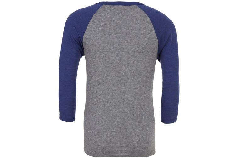 Canvas Mens 3/4 Sleeve Baseball T-Shirt (Grey/Navy Triblend) (M)