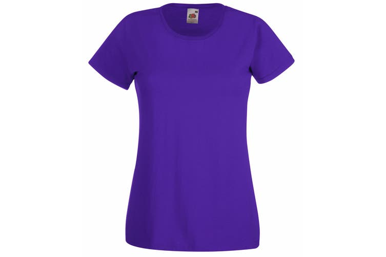Fruit Of The Loom Ladies/Womens Lady-Fit Valueweight Short Sleeve T-Shirt (Purple) (L)