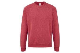 Fruit Of The Loom Childrens Unisex Raglan Sleeve Sweatshirt (Heather Red) (12-13)