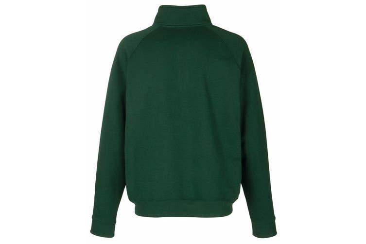 Fruit Of The Loom Mens Zip Neck Sweatshirt Top (Bottle Green) (2XL)