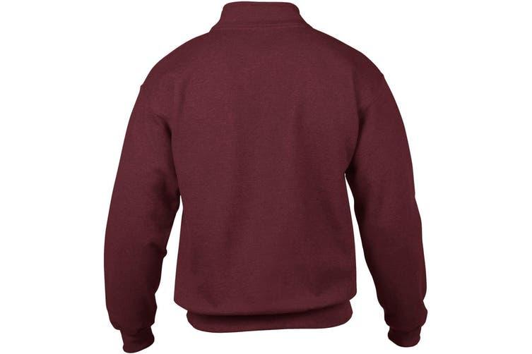 Gildan Adult Vintage 1/4 Zip Sweatshirt Top (Maroon) (2XL)