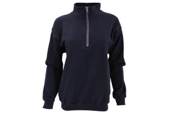 Gildan Adult Vintage 1/4 Zip Sweatshirt Top (Navy) (M)