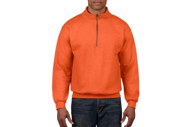 Gildan Adult Vintage 1/4 Zip Sweatshirt Top (Orange) (S)