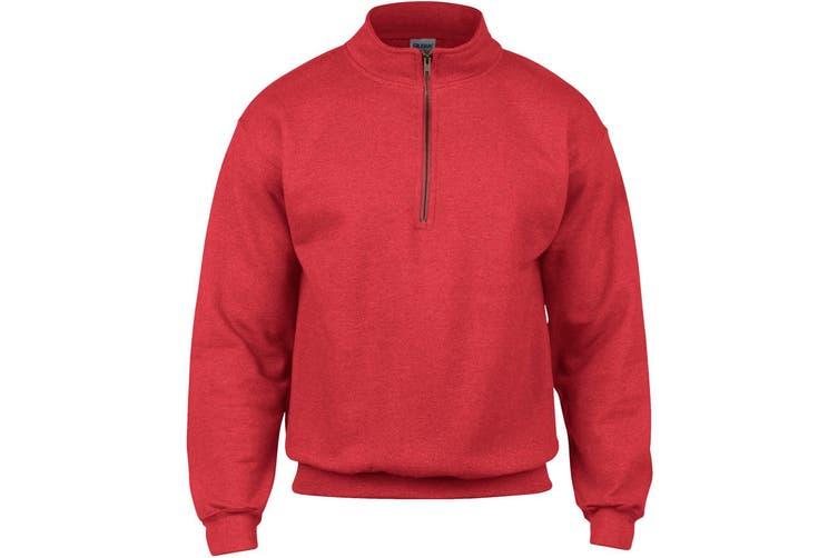 Gildan Adult Vintage 1/4 Zip Sweatshirt Top (Red) (M)