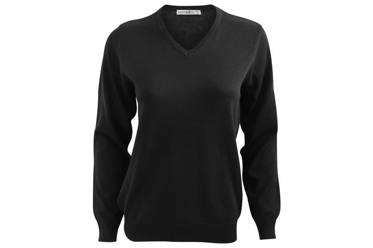Kustom Kit Ladies Arundel Long Sleeve V-Neck Sweater (Black) (12 UK)