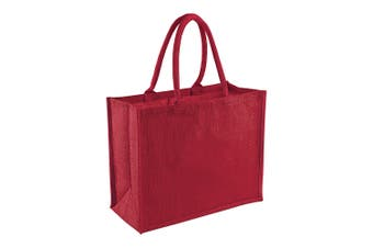 Westford Mill Classic Jute Shopper Bag (21 Litres) (Red/Red) (One Size)