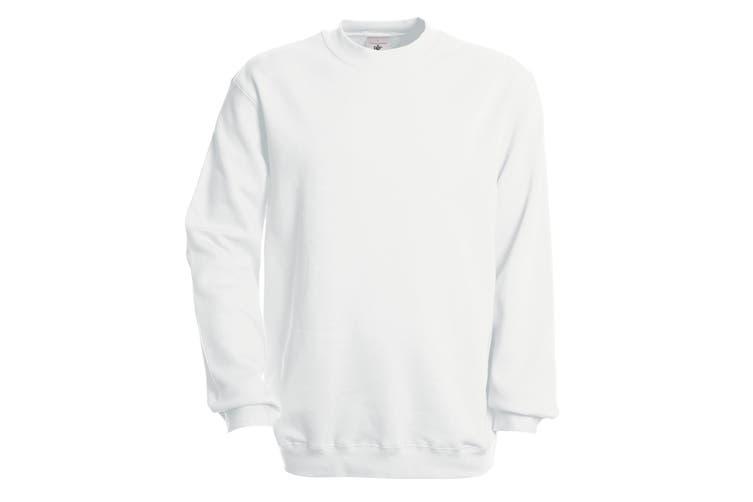 B&C Unisex Set In Modern Cut Crew Neck Sweatshirt (White) (3XL)
