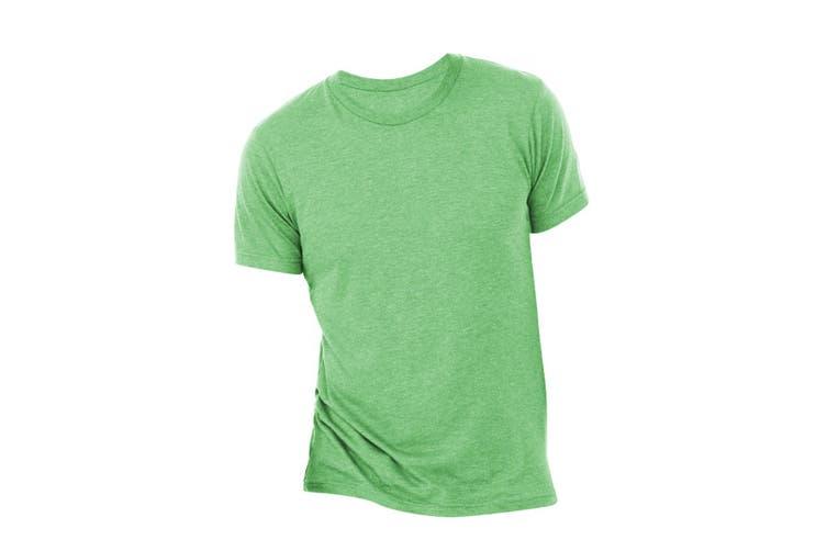 Canvas Mens Triblend Crew Neck Plain Short Sleeve T-Shirt (Grass Green Triblend) (2XL)