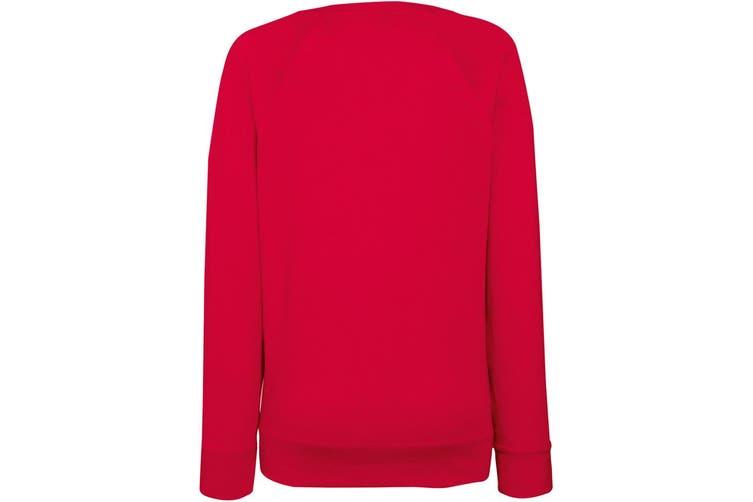 Fruit OF The Loom Ladies Fitted Lightweight Raglan Sweatshirt (240 GSM) (Red) (2XL)