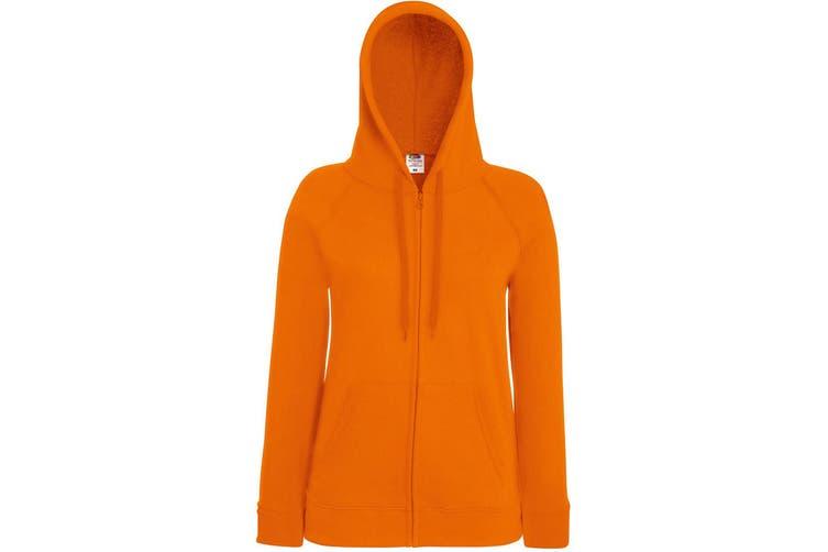 Fruit Of The Loom Ladies Fitted Lightweight Hooded Sweatshirts Jacket / Zoodie (240 GSM) (Orange) (2XL)