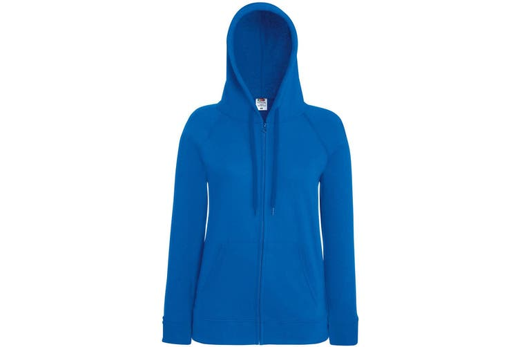 Fruit Of The Loom Ladies Fitted Lightweight Hooded Sweatshirts Jacket / Zoodie (240 GSM) (Royal) (XS)