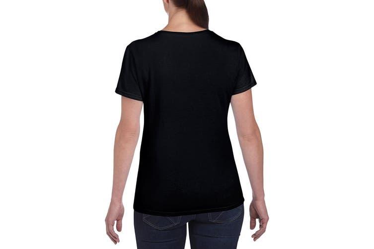 Gildan Ladies/Womens Heavy Cotton Missy Fit Short Sleeve T-Shirt (Black) (M)