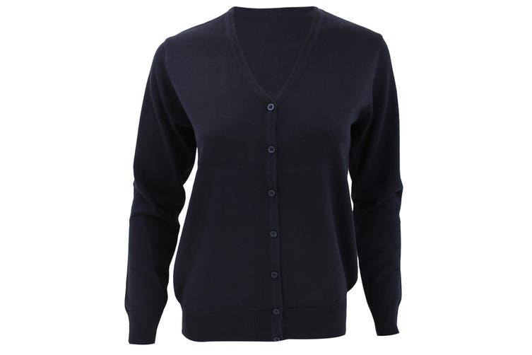 Kustom Kit Womens V-Neck Cardigan / Ladies Knitwear (Navy Blue) (20)