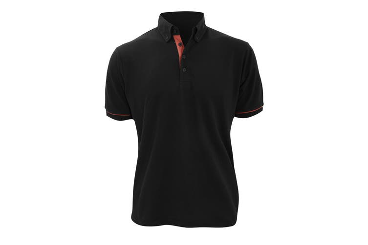 Kustom Kit Mens Button Down Contrast Short Sleeve Polo Shirt (Black/Red) (S)