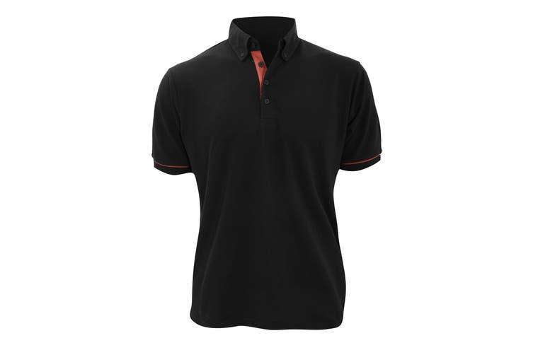 Kustom Kit Mens Button Down Contrast Short Sleeve Polo Shirt (Black/Red) (M)