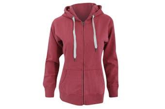 Mantis Womens/Ladies Superstar Zip Hooded Sweatshirt / Hoodie (Burgundy) (XL)