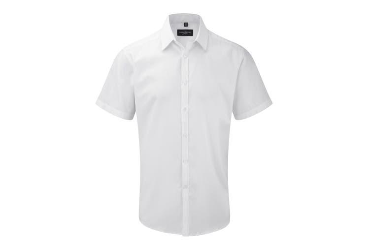 Russell Mens Short Sleeve Herringbone Work Shirt (White) (16.5)