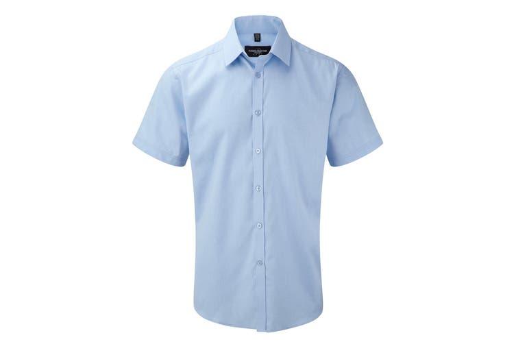 Russell Mens Short Sleeve Herringbone Work Shirt (Light Blue) (17)