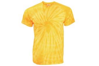 TDUK Mens Short Sleeve Spiral Tie Dye T-Shirt (Spiral Gold) (S)