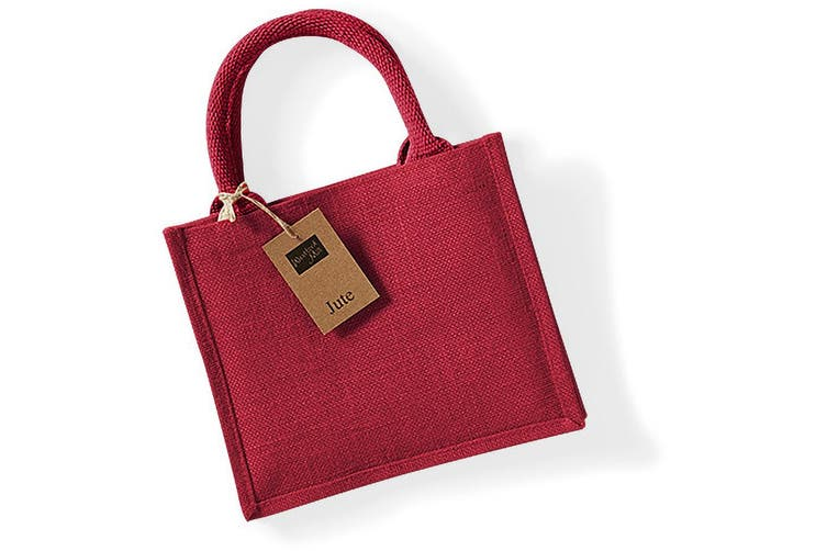 Westford Mill Jute Mini Gift Bag (6 Litres) (Red/Red) (One Size)