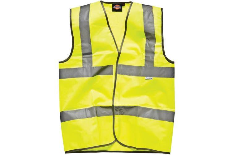 Dickies Higway Safety Hi Vis Waistcoat / Mens Workwear Jacket (Hi-Vis Yellow) (3XL)