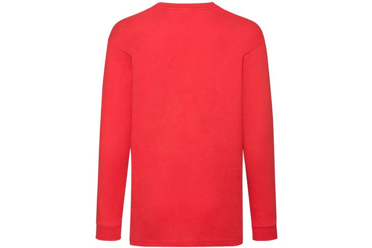 Fruit Of The Loom Childrens/Kids Long Sleeve T-Shirt (Red) (9-11)