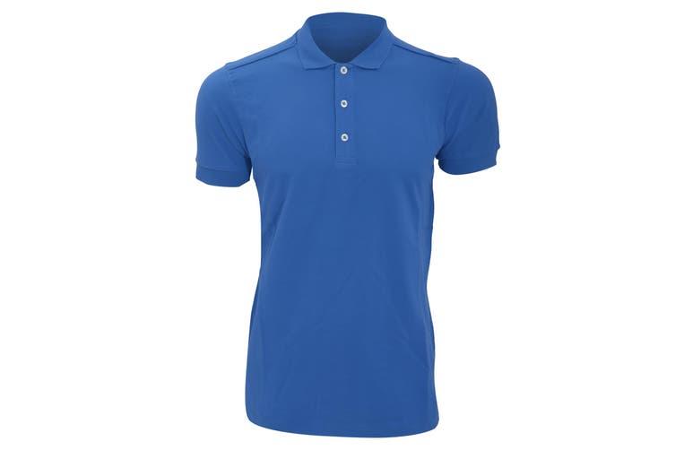 Russell Mens Stretch Short Sleeve Polo Shirt (Azure Blue) (L)