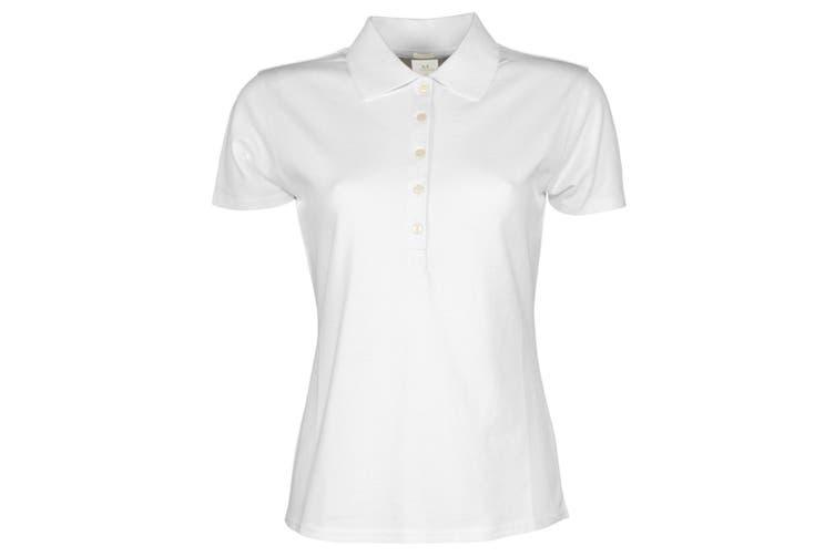 Tee Jays Womens/Ladies Luxury Stretch Short Sleeve Polo Shirt (White) (2XL)