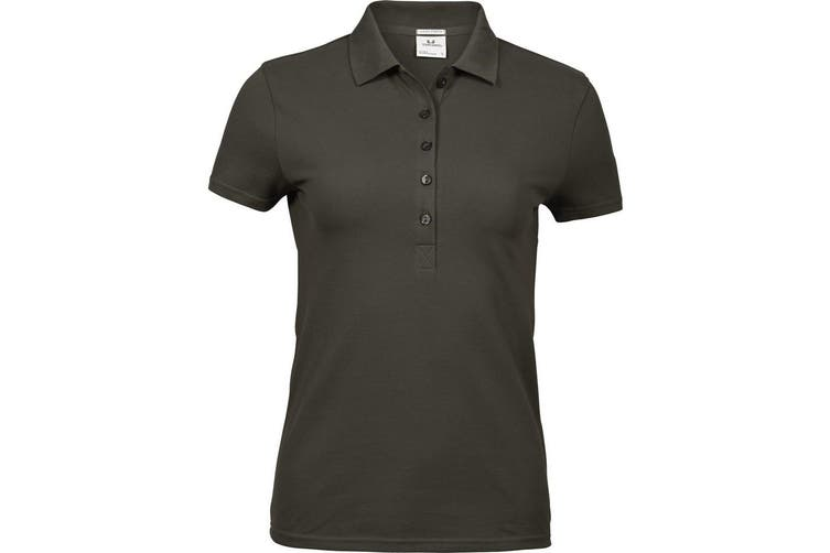 Tee Jays Womens/Ladies Luxury Stretch Short Sleeve Polo Shirt (Dark Olive) (L)